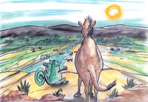 Με απίστευτη χαρά, η Μύλα κατέβηκε τον αμμόλοφο και ανακοίνωσε το ευτυχές γεγονός στους καλούς της φίλους τα άλογα, που αυτά, αμέσως σηκώθηκαν ζητωκραυγάζοντας με αμέτρητη χαρά: «Ζήτω η Μύλα! Ζήτω ο Λέων!».